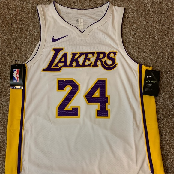 watch bc113 370e0 Authentic Kobe Bryant Lakers Jersey #24 White NWT